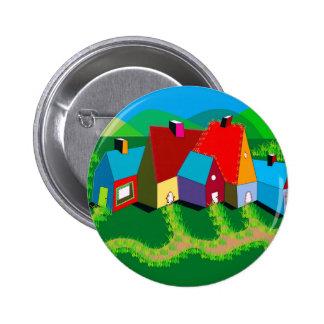 Pinback Button with Folk Art