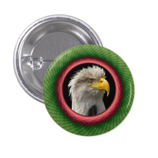 Pinback Button Yellow and Green Weave Frame