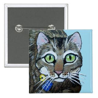 Pinback lindo del botón del gato de tabby pin cuadrado