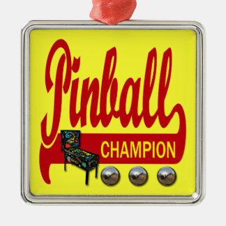 Pinball Champion Square Metal Christmas Ornament