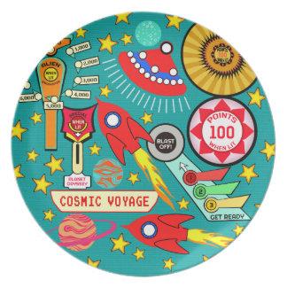 Pinball cósmico del viaje platos de comidas