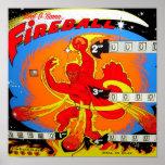 Pinball de la bola de fuego póster