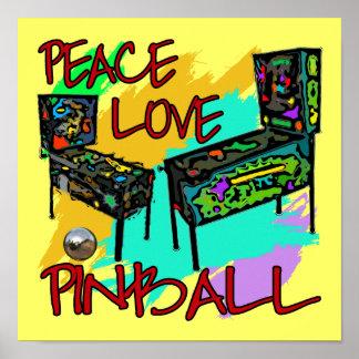 Pinball del amor de la paz póster