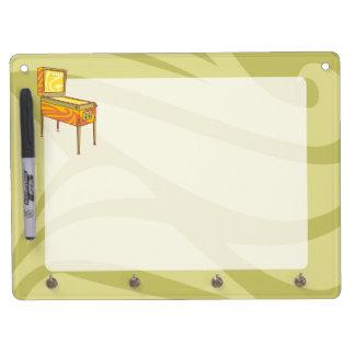 Pinball machine dry erase board with keychain holder