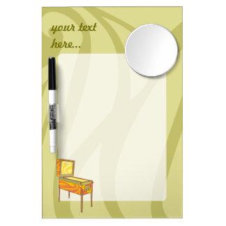 Pinball machine dry erase board with mirror