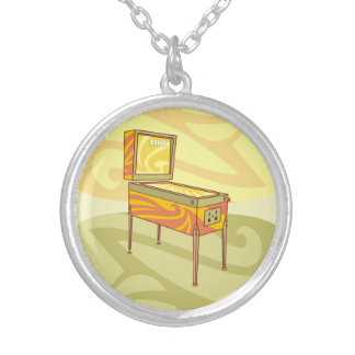 Pinball machine silver plated necklace