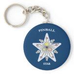 Pinball Star Basic Round Button Keychain