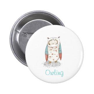 Pinbutton de los búhos del amor de Owling I Pin Redondo 5 Cm