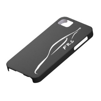 Pincelada blanca de FR-S en falsa fibra de carbono iPhone 5 Carcasas