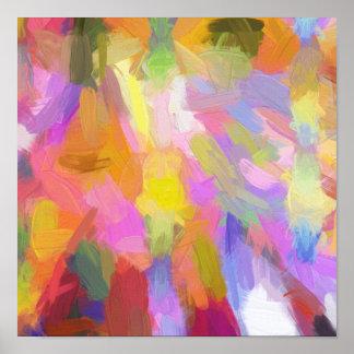 Pinceladas anaranjadas de la pintura del trullo póster