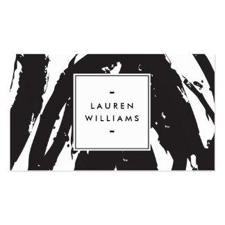 Pinceladas blancos y negros elegantes y abstractas tarjetas de visita