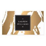 Pinceladas de cobre elegantes y abstractas plantillas de tarjetas de visita