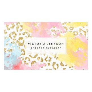 Pinceladas elegantes de la acuarela del modelo del tarjetas de visita