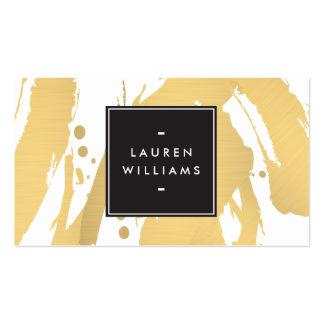 Pinceladas elegantes y abstractas del oro tarjetas de visita