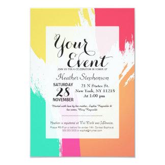 """Pinceladas multicoloras de la pintura invitación 3.5"""" x 5"""""""