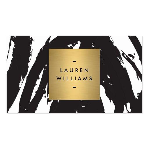 Pinceladas negras abstractas con el logotipo del n plantillas de tarjetas personales