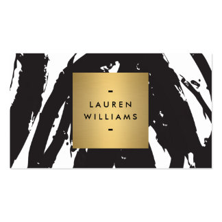 Pinceladas negras abstractas con el logotipo del tarjetas de visita