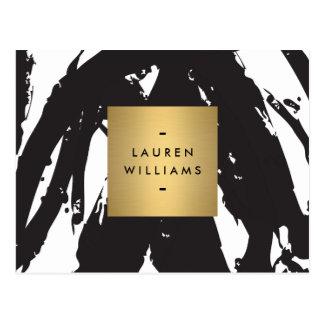 Pinceladas negras abstractas con el logotipo del tarjeta postal