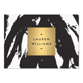 """Pinceladas negras abstractas con el oro Notecard Invitación 4.5"""" X 6.25"""""""