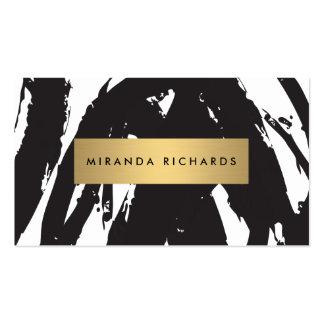 Pinceladas negras abstractas para el artista de tarjetas de visita