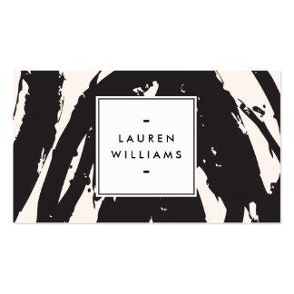 Pinceladas negras elegantes y abstractas tarjetas de visita