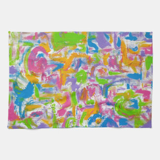 Pinceladas Pintada-Abstractas de neón del arte Toalla