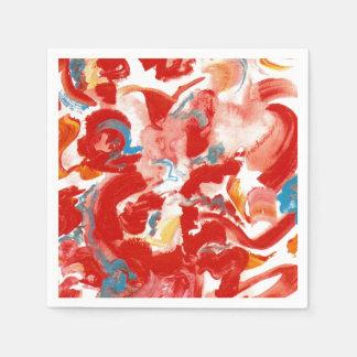 Pinceladas rojas - arte moderno pintado a mano servilletas de papel