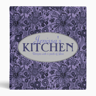 Pinch of Love 1 Inch Blue Floral Recipe Binder