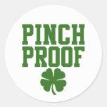 Pinch Proof with St Patricks Day shamrock Round Stickers