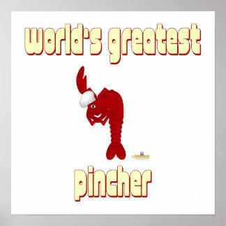 Pincher más grande de la langosta del mundo rojo d impresiones