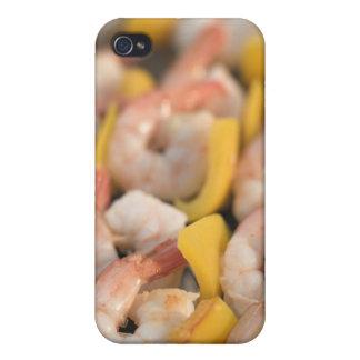Pincho con los camarones y la pimienta asados a la iPhone 4 carcasas