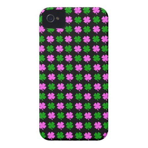 Pinck y diseño verde del trébol de la hoja de la h iPhone 4 cárcasa