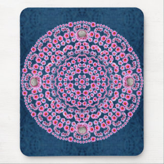 Pincushion Mandala on Blue Thorn Pattern Mouse Pad