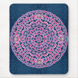 Pincushion Mandala with Blue Thorn Pattern Mouse Pad
