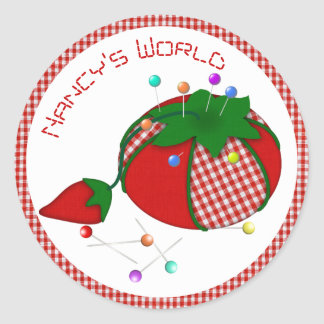 Pincushion with Red Gingham for Sewing World Classic Round Sticker