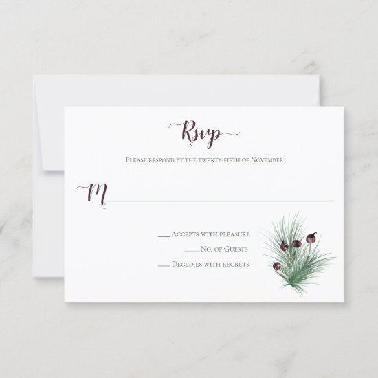 Pine and Berries Winter Wedding RSVP