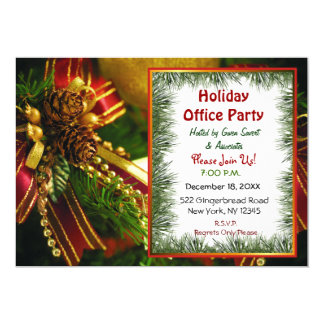 Pine and Bows Christmas Invitations Personalized Announcement