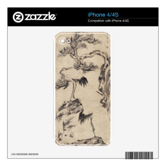 Pine and Cranes by Bada Shanren iPhone 4S Decals
