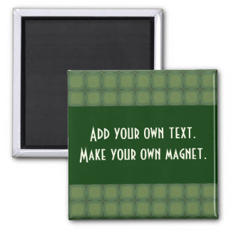 Pine and Fir Green Retro Squares Stars Magnet