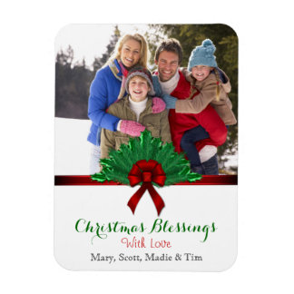 Pine and Ribbon Christmas Blessing Photo Magnet