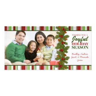 Pine Berries Stripes Christmas Family Photo Card
