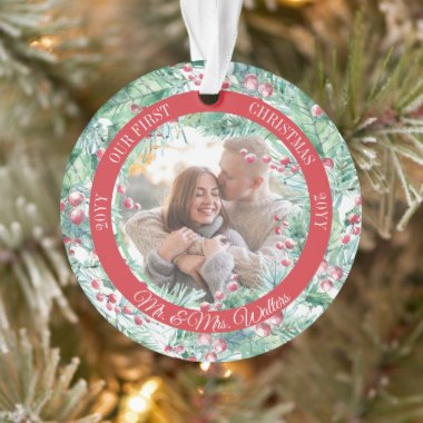Pine   Berries Wreath Our First Christmas Photo Or Ornament