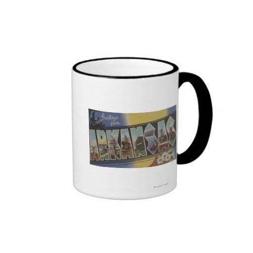 Pine Bluff, Arkansas - Large Letter Scenes Ringer Coffee Mug