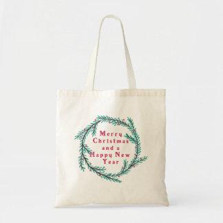 Pine Bough and Berries Wreath Christmas Tote Bag