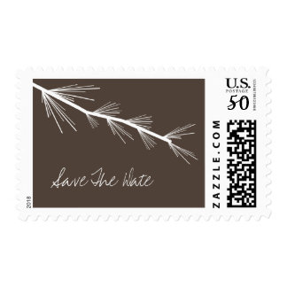 Pine Bough Brown Save The Date Postage