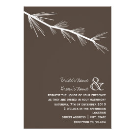 Pine Bough Brown Wedding Invitation
