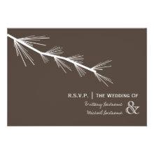 Pine Bough Brown Wedding R.S.V.P. Custom Invitation
