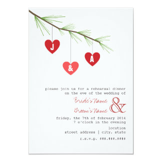 Pine Bough & Hearts Rehearsal Dinner Invitation
