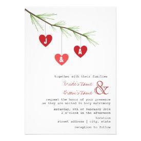 Pine Bough & Hearts Wedding Invitation