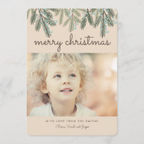 Pine Bough Merry Christmas Holiday Photo Card